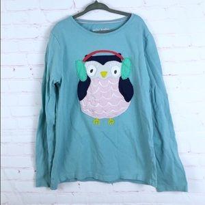 Mini Boden Owl Applique Long Sleeve Top Shirt